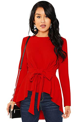 ILLI LONDON Women's Regular FIT HIGH Low Solid Blouse TOP & T-Shirt (RED, Medium)