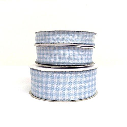Baby blu a quadretti, con bordo intrecciato tessuto nastro, 10mm/15mm/26mm, decorativo, pacchi regalo, realizzazione di biglietti e scrapbooking, baby blue and white, 10 mm