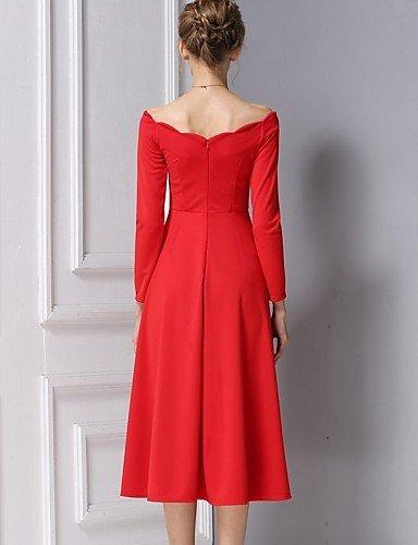 PU&PU Robe Aux femmes Trapèze Vintage / Simple,Couleur Pleine Bateau Midi Coton / Polyester BLACK-L