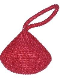 (2322) Sacoche De Poignet Perlée Pour Téléphone - Couleur : Rouge