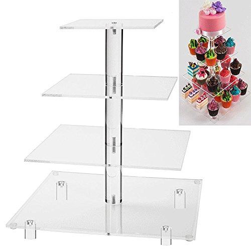 BoundleJoy 4-Tier Apilados Wedding Party Cupcake y Dessert Tower - Soporte de cristal cuadrado transparente de la torta de acrílico para el regalo de cumpleaños
