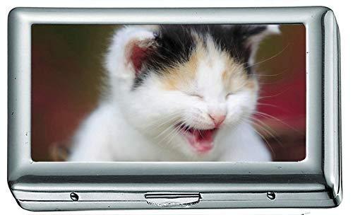 Niedliche Edelstahl ID oder Zigarettenetui (King Size), Kätzchen Gähnen Korb Zigarettenetui/Box, Kreditkartenetui für Frauen Männer -