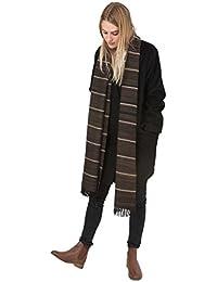 Grande écharpe rayée en laine mérinos filée à la main Marron 51 X 225cm