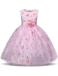 GIO300 Rosa Vestido Bautizo Boda Fiesta Cumpleaños Elegante Vestido Princesa para Bebé Ceremonia Ropa Infantil Encaje