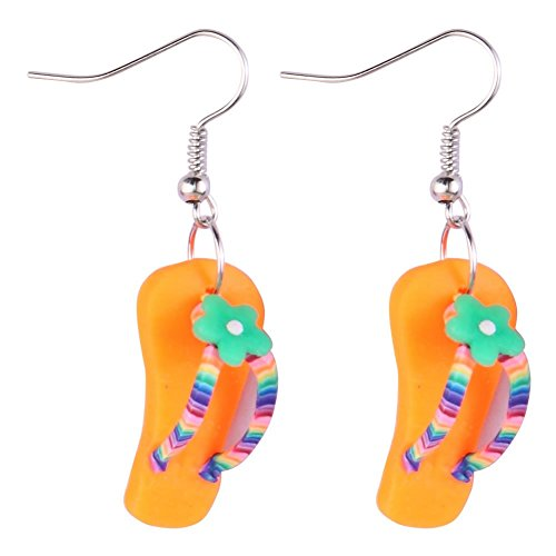 Drop Ohrring Flip Flop mit Blume (orange) mit Kunstharz hergestellt von Joe Cool