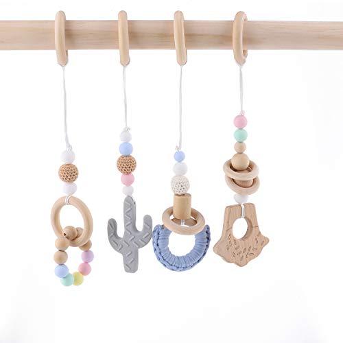 baby tete 4pc Baby Play Mobiles de Gymnastique en Bois Anneau de Bois Cactus Hochets Dans la Main