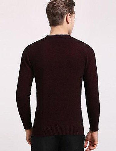 XX&GX Cashmere Uomo Casual Tinta unita Standard Manica lunga Cashmere dark red