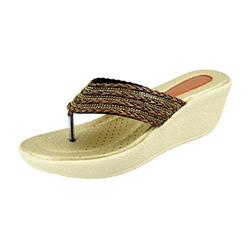 Miss Polo Brown wedge heel party wear slippers  available at amazon for Rs.399