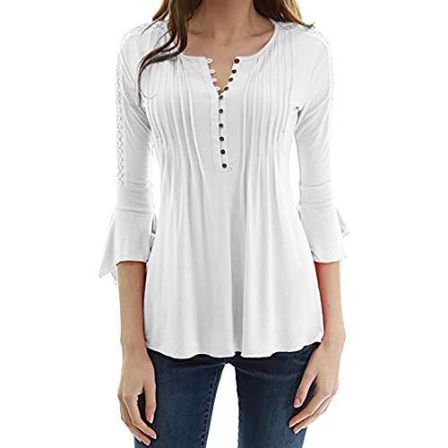 Meibax t-shirt donna cotone/camicia da donna con bottoni/top donna elegante/camicetta donna taglie forti/camicetta top slim scollo a v bottoni/bluse e camicie donna eleganti