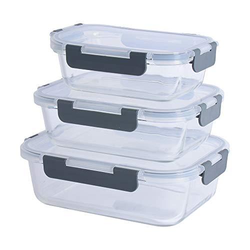 ProCook - Set 3 x Boîtes Alimentaires Emboîtables - Plats à Four en Verre avec Couvercles Hermétiques - 3 pièces