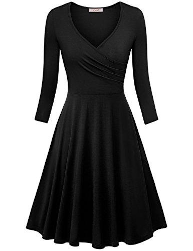 WAJAT Damen Wickelkleid A-Line V-Ausschnitt Casual Vintage Elegante Kleider Langarm-Schwarz M