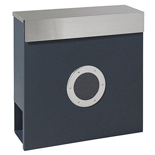 LZQ Zeitlosem Design Edelstahl Briefkasten, Wandbriefkasten mit Zeitungsfach, A4 Einwurf-Format, mit Sichtfenstern, Namensschild, Abschließbar mit 2 Schlüssel (C Type)