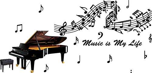 Ufengke® Negro Piano Notas Musicales Pegatinas Pared
