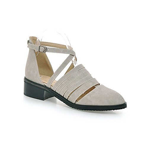 Adee Damen Schnürschuh ROMANIK Schließung Schnalle synthetic-and-leather Pumpen Schuhe Grau