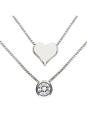 MYA art Damen Halskette Collier 925 Sterling Silber Doppel Mehrreihige Zwei Kette Herz mit einem Solitär Strass...