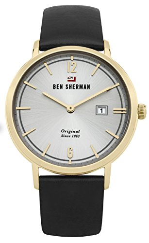 Ben Sherman Men's 'The Dylan Social' Quartz Gold-Tone and Leather Casual Watch, Color Black (Model: WBS101BG)