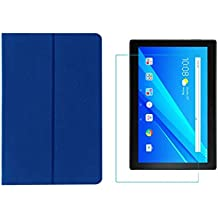 "Colorcase Tablet Flip Cover Case for Lenovo TAB4 Tab 4 10 TB-X304L TB-X304F TB-X304N 10.1"" - {Blue} with Tempered Glass (Combo Pack)"