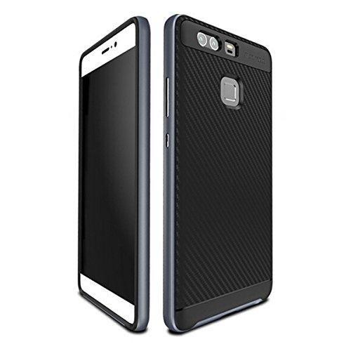 Anti-stoß Schutzhülle Tasche Schale für Huawei P9 Smartphone (13,2 cm (5,2 Zoll) Rutschfest Stoßfest Case Gehäuse Rahmen Fall Hülle Etui (Hinweis: nicht für Huawei P9 Lite) (Grey)