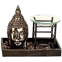 Incense lámpara Buda Escultura de Budas con evaporación Figura de Buda con lámpara de incienso Evaporador con estatua de Buda Cabeza de Buda