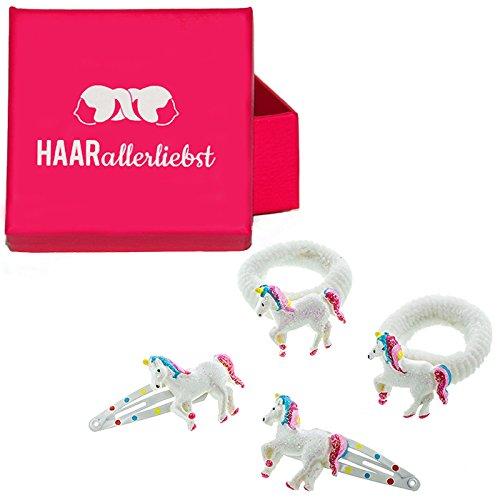 4 teiliges Haarspangen und Haargummi Set mit glitzernden Einhörnern für Kinder in pinker Box von...