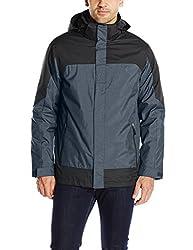 32Degrees Weatherproof Mens 3 In 1 Systems Jacket Colorblock, Navy Melange/Black, X-Large