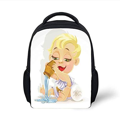 Kids School Backpack Astrology,Baby Aquarius Zodiac Icon Playing Water and Bowl Joy Magic Saturn Planet Home Decor Decorative,Multi Plain Bookbag Travel Daypack (Magic Fish Bowl)