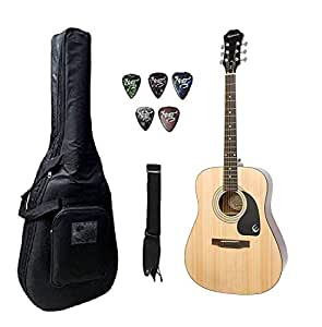 Epiphone DR-100, 6-Strings Acoustic Guitar With Guitar Belt,Plectrums & Gig Bag.
