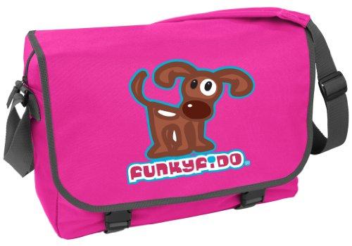 Funky Fido 'Cane Terrier Bruno Bianco�?Borsa a Tracolla Blu Dimensioni 41x31x12 cm Rosa Fucsia