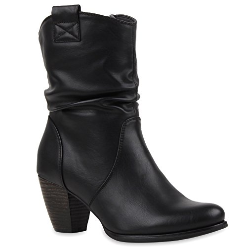 Damen Cowboy Boots Stiefel Holzoptikabsatz Lederoptik Stiefeletten Blockabsatz Booties Trichterabsatz Schuhe 114112 Schwarz 39 | (Country Stiefel Western)