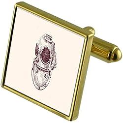 Casco de buzo de aguas profundas de tono Oro gemelos Crystal Gift Set Clip de corbata