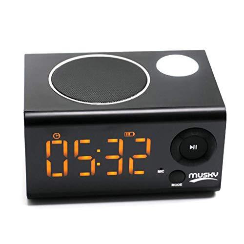 YQ Bluetooth 4.2 Aux in/TF-Karte/U-Disk-Lautsprecher Kabelloser Bluetooth-Lautsprecher mit Wecker, MP3-Player, tragbares LED-Nachtlicht, Schlummerfunktion