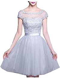 Scothen Damen Brautjungfern kleid Festliches Kleid Hochzeitsfeier Ballkleid  Sheer Rock Perlstickerei Applikationen Tüll Abiball Kleider A 85fcdbd451