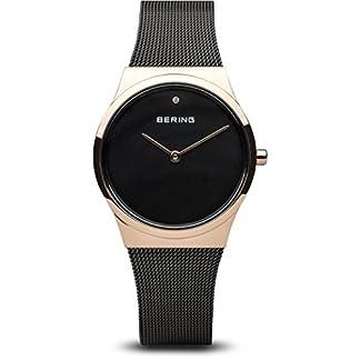 Bering–Classic 30mm negro pulsera de acero reloj analógico de cuarzo de la mujer de movimiento–166