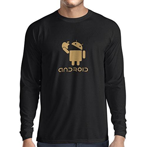 N4067L T-Shirt mit langen Ärmeln Android Unisex T-Shirt (XXX-Large Schwarz Gold)