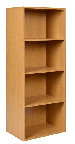 ts-ideen Standregal Bücherregal Aufbewahrung MDF in Eichen-Optik 4 Fächer CD-Regal 106 x 41,5 cm (4 Regal Bücherregal Mdf)