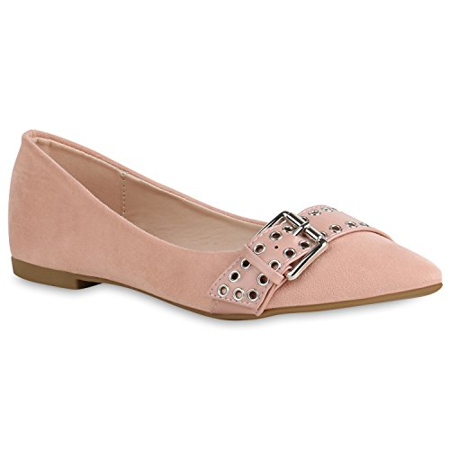 Stiefelparadies Spitze Damen Schuhe Ballerinas Klassische Slip Ons Wildleder-Optik 156535 Rosa Bernice 39 Flandell