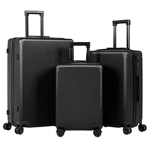 Murtisol Koffer Hartschalen Reisekoffer ABS Rollkoffer mit TSA Schloss, 360°Spinner Rollen,4 Kunststoff Füβe,Verstellbarer Traggriffe,Schwarz Set