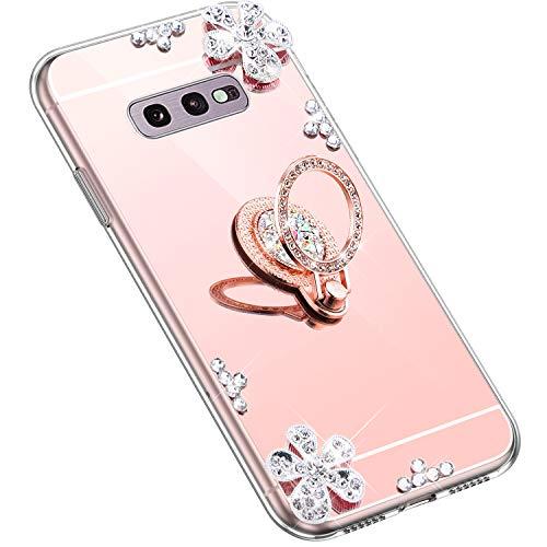 Uposao Kompatibel mit Samsung Galaxy S10e Hülle Glitzer Diamant Glänzend Strass Spiegel Mirror Handyhülle mit Handy Ring Ständer Schutzhülle Transparent TPU Silikon Hülle Tasche,Rose Gold