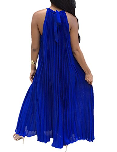 Boutiquefeel Womens Summer Halter Pleated Casual Maxi Dress
