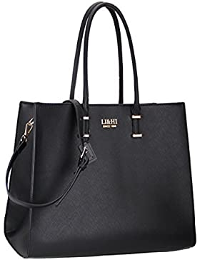 LI&HI Elegant Handtaschen Damen Handtasche Schwarz Handtasche Schule Shopper Damen Groß Schwarz Marken Handtaschen...
