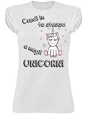 T Shirt Donna T-Shirt CREDI in Te Stesso Unicorno Citazioni Scritte tumbrl Vintage Fashion Divertente - Maglietta...