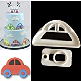 #8: WHBLLC 2PCS Cookie Cutter Plastic Small Car Fondant Pastry Cookie Mold Cake Decoration DIY Baking Tool