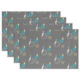 Senwei Geometrische Bauhaus Muster Tisch-Sets Home Teller Fußmatte für Esstisch hitzebeständig Küche Tisch Matte 30,5x 45,7cm 12 x 18 inch x 6 Pieces Mehrfarbig