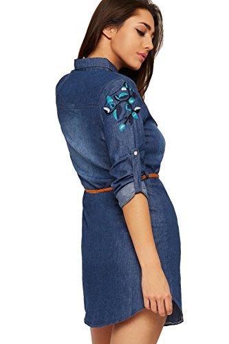 WEARALL Femmes Belted Toile De Jean Chemise Mini Robe Dames Longue Manche Floral Imprimer Bouton - 36-42 Bleu foncé