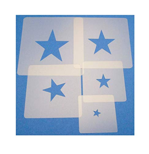 Schablonen Set ● 5 einzelne Sterne ● 1 cm, 2cm, 3cm, 4cm, 5cm groß - Stern-schablonen