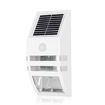 Excelvan Lampada Wireless ad Energia Solare da Esterno con Attivato Sicurezza Della Parete LED Luce con Sensore di Movimento Auto On/Off Controllo della Luce 1200mAh Batteria (Bianco)