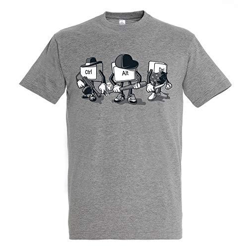 Camiseta Computer Mafia - Humor - Color Gris Mezcla - 100% Algodón - Serigrafía