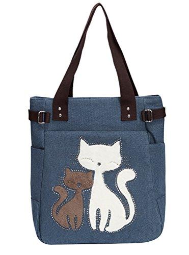 Heheja Damen Shopper Schultertasche Katze Muster Reißverschluss Freizeittaschen Einkaufstasche Tasche Denim Blau