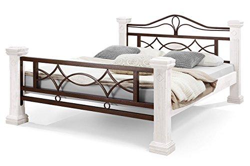 Holzbett 180x200cm Massiv ROM Weiß lackiert Ehebett Doppelbett mit Rollrost Metallbett