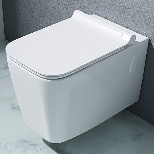 56 Bidet Set (Design Hänge-WC Toilette Aachen107 aus weißer Keramik | Toilettensitz mit Absenkautomatik | BTH: 36x56x31cm)